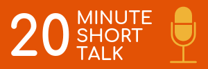 Orange rectangle with yellow microphone icon. Link to 20 minute session logistics.
